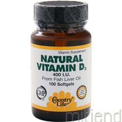 Natural Vitamin D3 400 IU 100 sgels COUNTRY LIFE