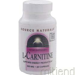 L-Carnitine 500mg 60 caps SOURCE NATURALS