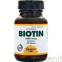 Biotin 1000mcg 100 tabs COUNTRY LIFE