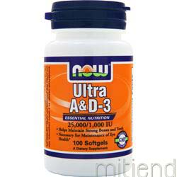 Ultra A & D-3 25,000/1,000 IU 100 sgels NOW