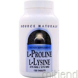 L-Proline L-Lysine 275mg/275mg 120 tabs SOURCE NATURALS