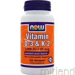 Vitamin D-3 and K-2 120 caps NOW