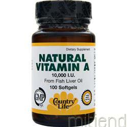 Natural Vitamin A 10000IU 100 sgels COUNTRY LIFE