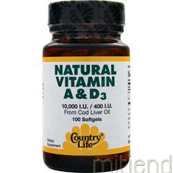 Natural Vitamin A & D3 10000IU/400IU 100 sgels COUNTRY LIFE
