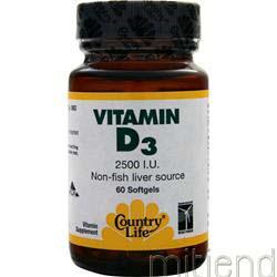 Vitamin D3 2500IU 60 sgels COUNTRY LIFE