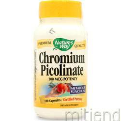 Chromium Picolinate 200mcg 100 caps NATURE'S WAY