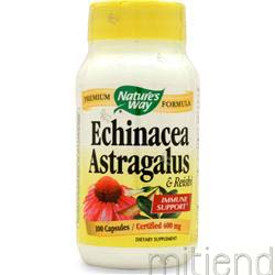 Echinacea with Astragalus and Reishi 100 caps NATURE'S WAY