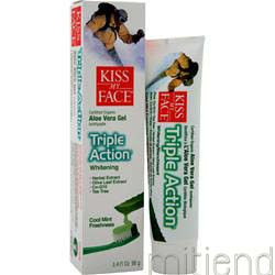 Organic Aloe Vera Triple Action Toothpaste Cool Mint 3 4 fl oz KISS MY FACE