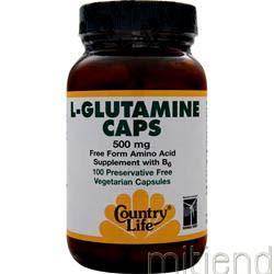L-Glutamine Caps 500mg 100 caps COUNTRY LIFE