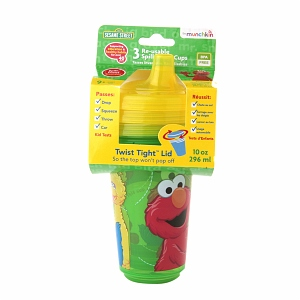 Munchkin 10oz Sesame Street Re-Usable Twist Tight Spill-Proof Cups 3 ea