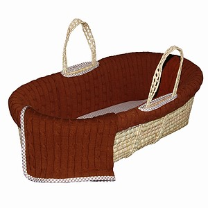 Tadpoles Cable Knit Moses Basket Set