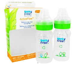 Active Flow Eco Deco Baby Bottle BPA Free Twin Pack 2 x 9 oz. Bottles