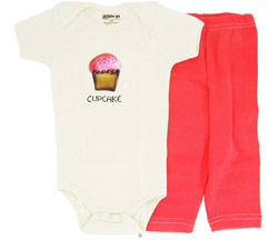 100% Organic Cotton Baby Gift Set Short Sleeve BodySuit + Leggings Cup Cake 3-6 Months