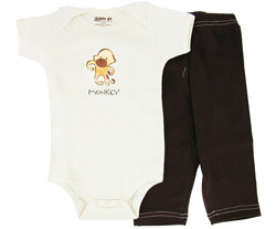 100% Organic Cotton Baby Gift Set Short Sleeve BodySuit + Leggings Monkey 3-6 Months