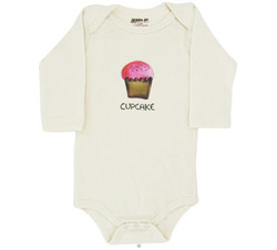 100% Organic Cotton Long Sleeve BodySuit With Wearable Greetings Gift Box Cupcake 6-12 Months