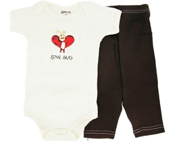 100% Organic Cotton Baby Gift Set Short Sleeve BodySuit + Leggings Love Bug 6-12 Months