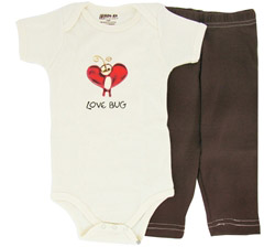 100% Organic Cotton Baby Gift Set Short Sleeve BodySuit + Leggings Love Bug 3-6 Months