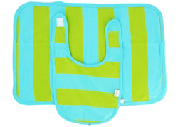 100% Organic Cotton Bib & Burp Set Turquoise/Green Stripe 0-12 Months