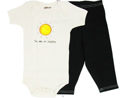 100% Organic Cotton Baby Gift Set Short Sleeve BodySuit + Leggings You Are My Sunshine 6-12 Months