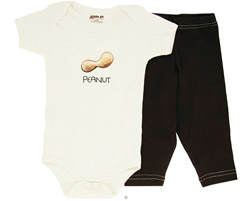 100% Organic Cotton Baby Gift Set Short Sleeve BodySuit + Leggings Peanut 6-12 Months