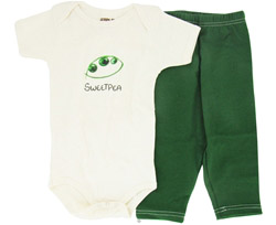 100% Organic Cotton Baby Gift Set Short Sleeve BodySuit + Leggings Sweet Pea 6-12 Months
