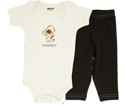 100% Organic Cotton Baby Gift Set Short Sleeve BodySuit + Leggings Monkey 6-12 Months