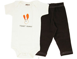 100% Organic Cotton Baby Gift Set Short Sleeve BodySuit + Leggings Honey Bunny 6-12 Months