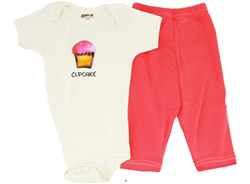 100% Organic Cotton Baby Gift Set Short Sleeve BodySuit + Leggings Cup Cake 6-12 Months