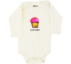 100% Organic Cotton Long Sleeve BodySuit With Wearable Greetings Gift Box Cupcake 3-6 Months