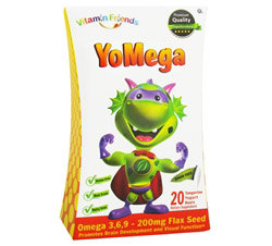 YoMega Omega 3-6-9 with Flax Seed Tangerine Flavor - 20 Yogurt Gummies