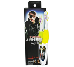 "Justin Bieber Singing Toothbrush ""Somebody To Love"" & ""Love Me"" Yellow CLEARANCE PRICED"