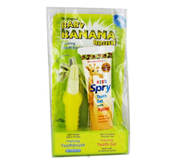 Baby Banana Training Toothbrush With Spry Kid's Tooth Gel With Xylitol Strawberry Banana