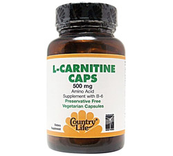 L-Carnitine Caps Amino Acid Supplement with B-6 500 mg.