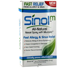 Sinol-M All-Natural Allergy/Sinus Nasal Spray with MucoAd