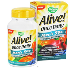 Alive Once Daily Men's 50+ Multi-Vitamin & Whole Food Energizer Ultra Potency