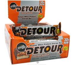 Detour Deluxe Whey Protein Energy Bar Lower Sugar Caramel Peanut