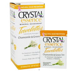 Crystal Essence Mineral Deodorant Towelettes Chamomile & Green Tea