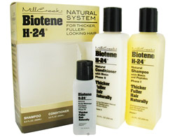 Biotene H-24 Natural System for Thicker Fuller Looking Hair Tri-Pack (Shampoo, Conditioner, & Emulsion)