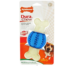 Dura Chew Double Action Dental Chew Ball Wolf For Powerful Chewers Up To 35 lbs. Bacon Flavored CLEARANCE PRICED
