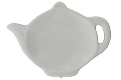 Tea Bag Caddy Porcelain White Teapot Design