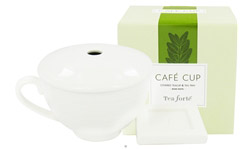 Cafe Cup Covered Teacup & Tea Tray Bone White