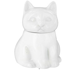 Porcelain Cat Sugar Bowl White