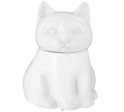 Porcelain Cat Sugar Bowl White